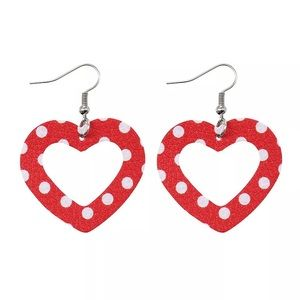 Red and White Polka Dot Leather Heart Earrings